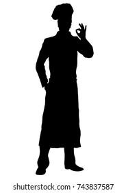 Cook vector silhouette, outline chef standing front side full-length, contour portrait male young human in a chef's form, toque, in an apron, isolated on white background, monochrome illustration