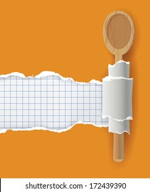 Cookbook  background, vector ripped paper with bottom layer for your image or text, with wooden spoon.