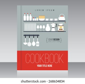 cookbook cover design vector template minimal style