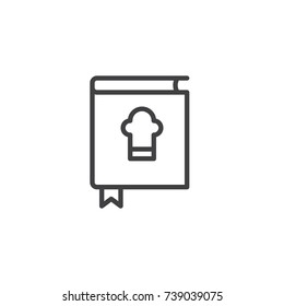 Cookbook line icon, outline vector sign, linear style pictogram isolated on white. Book of recipes symbol, logo illustration. Editable stroke