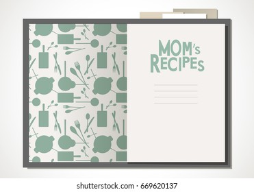 Cookbook with mom's recipes. Vector Illustration