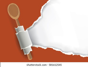 Cookbook Recipes torn paper background. Ripped brown paper with bottom layer for your image or text, with wooden spoon. Vector available