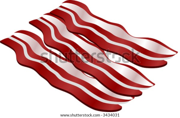 Cooked bacon strips. isometric illustration