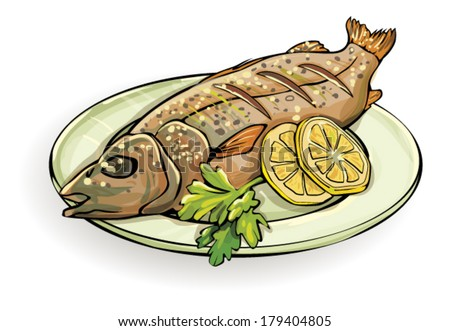 Cooked Fish Stock Vector Royalty Free 179404805