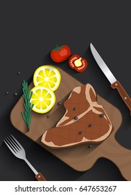 Cooked meat t-bone steak on serving board with tomatoes, lemon, rosemary and spices, Paper cut concept.
