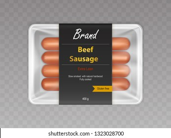 Cooked with slow smoking on natural hardwood beef sausages in sealed container 3d realistic vector isolated on transparent background. Food product with meat in branded packaging mockup illustration
