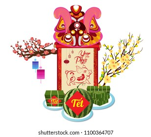 Cooked square glutinous rice cake and blossom, Vietnamese new year. Translation Tet  Lunar new year