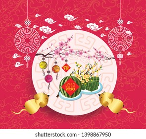 Cooked square glutinous rice cake and blossom, Vietnamese new year. Translation Tết  Lunar new year