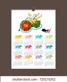 """Cooked square glutinous rice cake and blossom, Calendar vietnamese new year. (Translation """"T?t"""" : Lunar new year)"""