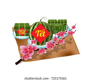 """Cooked square glutinous rice cake, Vietnamese new year. (Translation """"T?t"""" : Lunar new year)"""