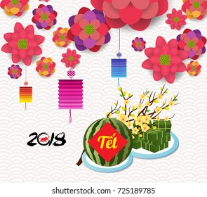 "Cooked square glutinous rice cake, blossoms and watermelon, Vietnamese new year. (Translation ""Tet"" : Lunar new year)"