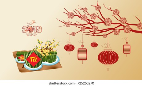 "Cooked square glutinous rice cake and blossom, wallpapers. Vietnamese new year. (Translation ""Tet"": Lunar new year)"