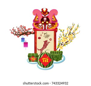 "Cooked square glutinous rice cake and blossom, Vietnamese new year. Translation ""Tet"":  Lunar new year"