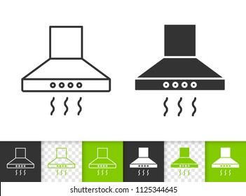 Cooker hood black linear and silhouette icons. Thin line sign of exhaust hood. Ventilation outline pictogram isolated on white, transparent backdrop. Vector Icon of Kitchen Hood simple symbol closeup