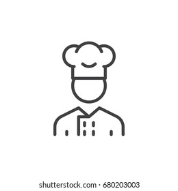 Cooker man line icon, outline vector sign, linear style pictogram isolated on white. Symbol, logo illustration. Editable stroke. Pixel perfect vector graphics