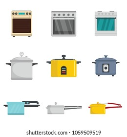 Cooker oven stove pan burner icons set. Flat illustration of 9 cooker oven stove pan burner vector icons for web