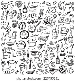 Cookery, natural food - doodles collection