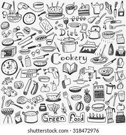 Cookery, natural food - doodles set