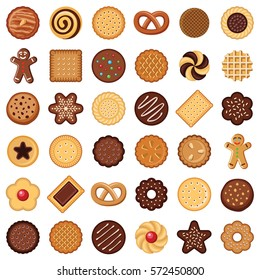 Cookie and biscuit icon collection - vector color illustration