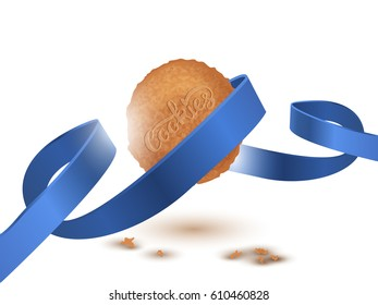 Cookie and Cookies Lettering with blue ribbon, isolated on white.Vector illustration EPS 10