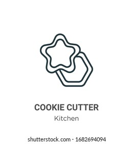 Cookie cutter outline vector icon. Thin line black cookie cutter icon, flat vector simple element illustration from editable kitchen concept isolated stroke on white background