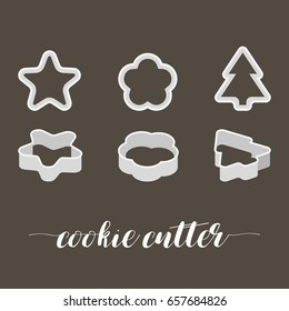 cookie cutter in various style, star, floral, christmas tree, flat design