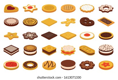 Cookie of food cartoon vector illustration on white background. Biscuit cake cartoon vector set.Isolated vector icon cookie of food.
