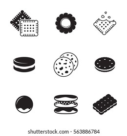 Cookie icons set. Black on a white background