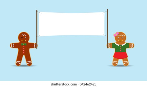 Cookie Man and Girl holding Blank Banner. Vector Cartoon for Christmas and New Year Advertising