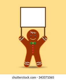 Cookie Man holding Blank Banner or Sign. Vector Cartoon for Christmas and New Year Advertising