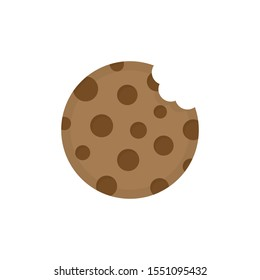 Cookie round icon vector illustration. Sweet chocolate chip cookie with bite marks. Isolated cartoon graphic.