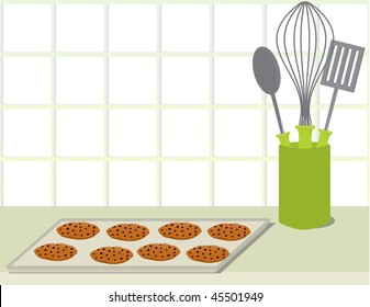 Cookie tray on counter - vector version