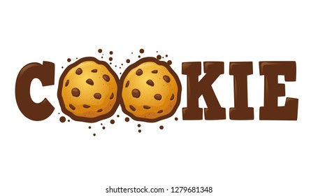 Cookie word customs lettering typography, vector illustration