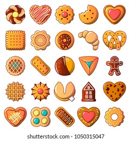 Cookies biscuit icons set. Cartoon illustration of 25 cookies biscuit vector icons for web
