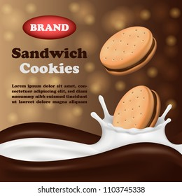 Cookies biscuit milk and chocolate vertical banner. Realistic illustration of cookies biscuit milk and chocolate banner vertical concept for web