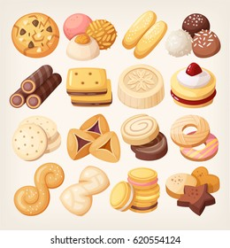 Cookies and biscuits icons set. Various pastry snack food. Isolated realistic vector illustrations.