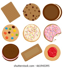 Cookies and biscuits vector illustration collection