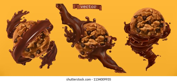 Cookies and chocolate splashes. 3d realistic vector