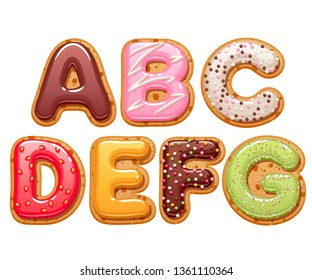 Cookies with colorful icing abc letters set - sweet biscuits alphabet design.