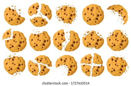 Cookies with crumbs vector cartoon set icon. Vector illustration biscuit on white background. Isolated cartoon set icon cookies with crumbs.
