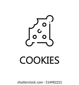 Cookies flat icon. Single high quality outline symbol of sweets for web design or mobile app. Thin line signs of cookies for design logo, visit card, etc. Outline pictogram of cookies