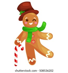 cookies gingerbread man, decorated with icing holding a candy, xmas sweet food vector illustration of christmas