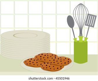Cookies on counter - vector version
