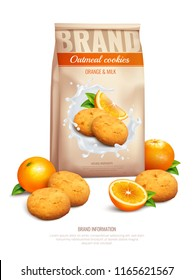 Cookies realistic composition with orange and milk taste symbols vector illustration