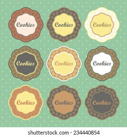 Cookies retro style labels collection vector