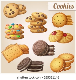 Cookies. Set of cartoon vector food icons.