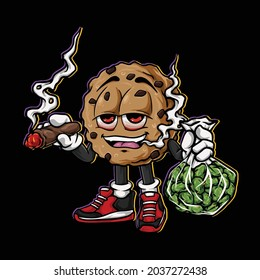 cookies smoking blunt and holding bag nug weed flower face high stoned