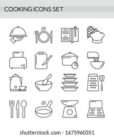 Cooking accessories, kitchen equipment, utensil and cutlery simple line outline icons set