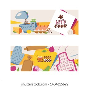 Cooking appliances and restaurant utensil and food set of banners vector illustration. Good food. Let s cook. Apron, glove, mixer, wooden cutting board, grater, ladle, vegetables, onion, cucumber