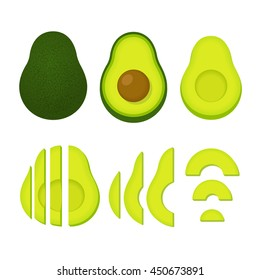 Cooking with avocados vector illustration set. Whole avocado and cut slices isolated on white background.